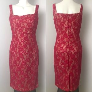 Laura • Red Floral Lace Sleeveless Dress • Sz 6/8